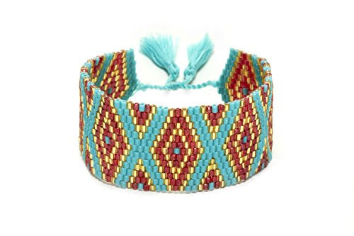 Lulu Dharma Red and Navy Mixed Beaded Cuff Bracelet (Red, Gold and Teal)
