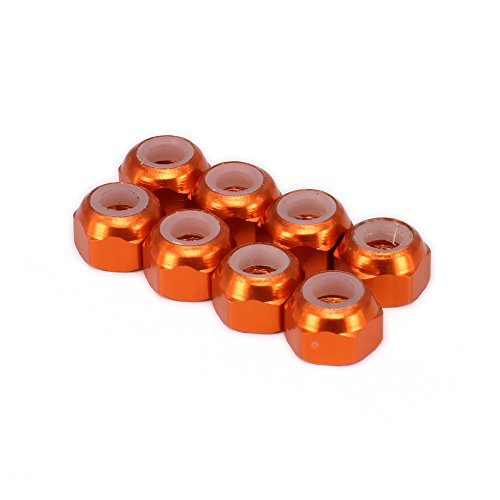 RCAWD Lock Nut M3 3mm 736098 for Rc Hobby Model Car 1/18 FS Racing Big Foot Monster Truck 8Pcs(Orange)