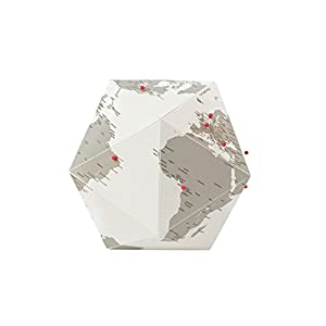 Here Foldable Personal Globe by Cities~Medium~3 Dimensional Quality Graphic Paper Globe~Pin your Personal Travel Journey!