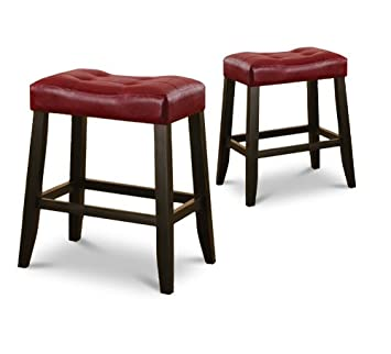 Superb 2 24 Red Cushion Kitchen Counter Dining Saddle Back Black Finish Bar Stools Short Links Chair Design For Home Short Linksinfo