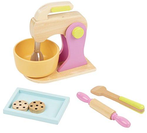 Blue Panda Wooden Kitchen Mixer Toy - 7-Piece Pretend Play Cookie Baking Toy Set Kids, Wood Play Food Children