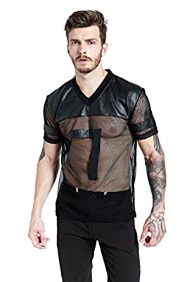 F plus R Mens Novelty Character T-Shirt Fashion Faux Leather Mesh Stitching Tees