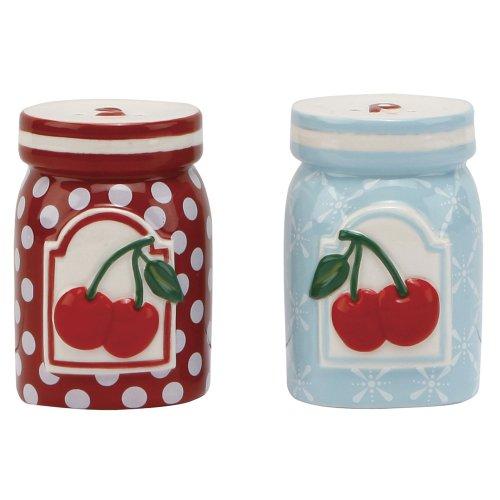 C.R. Gibson Jessie Steele Ceramic Salt and Pepper Set, Kitchen Cherry