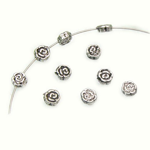 GEM-Inside Bali Style Alloy Metal Beads Antique Tibetan Silver Findings Spacer Beads Jewelry DIY Charms Pendants Loose Beads Findings Accessories 100Pcs 3X6mm Hole 1mm