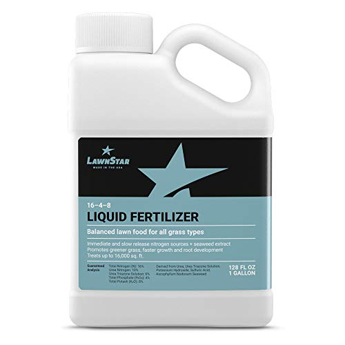 LawnStar 16-4-8 NPK Fertilizer (1 Gallon) - Makes Grass Grow Greener & Faster - Liquid Lawn Food with Slow & Fast Release Nitrogen - Ideal Spring & Summer Spray for All Grass Types - American Made