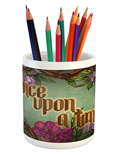 (Ambesonne Once Upon a Time Pencil Pen Holder, Calligraphic Quote with Blossoming Vintage Flowers Frame and Caterpillar, Printed Ceramic Pencil Pen Holder for Desk Office Accessory, Multicolor)