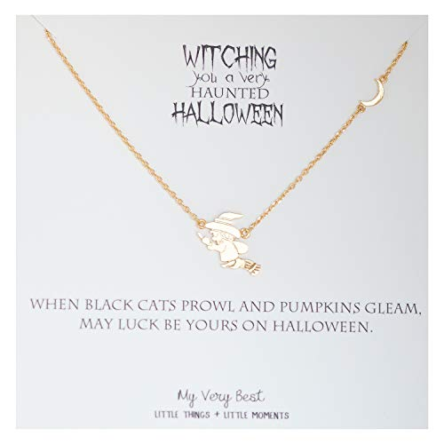 My Very Best Halloween Witch Flying on a Broomstick Necklace (Gold Plated Brass) -