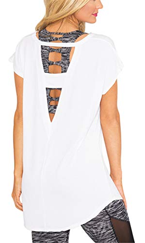 MODARANI V Cut Shirts for Women Open Back Yoga Workout Tops White Casual Baggy Solid Tunic Tops L