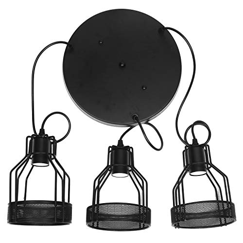 Topotdor Industrial Rustic 3 Light Cage Shade Dining Room Black Pendant Light Black
