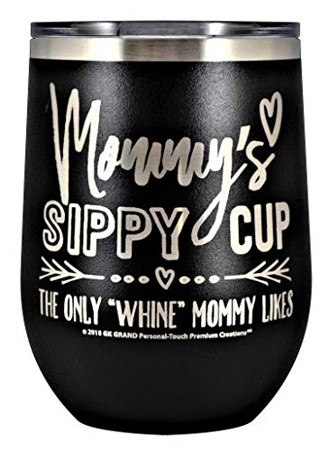 MOMMYS SIPPY CUP WINE GLASS GIFT TUMBLER - Engraved Stainless Steel Stemless Wine Tumbler 12 oz Vacuum Insulated Travel Coffee Mug Hot Cold Drink Mothers Day Christmas Birthday Mom (Black)