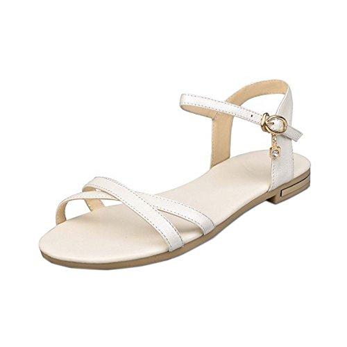 COOLCEPT Damen Mode-Event Knochelriemchen Sandalen Open Toe Slingback Flach Schuhe Beige