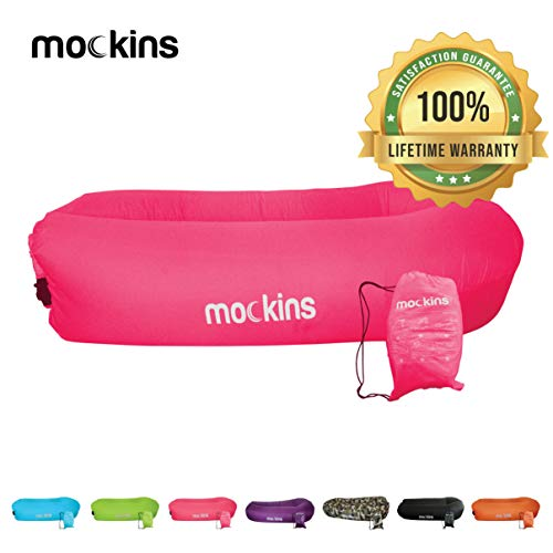 Mockins Inflatable Lounger Air Sofa Perfect for Beach Chair Camping Chairs or Portable Hammock and Includes Travel Bag Pouch and Pockets   Easy to Use Camping Accessories -Pink Color