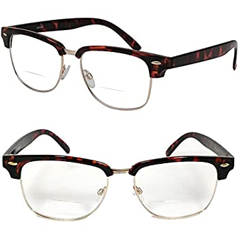 2986c22ab9 Clubmaster Horned Rim Men Women Bifocal Reading Glasses Clear Lens (+1.50