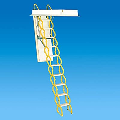 "Rainbow M2254 22-1/2""L x 54""W Prestige Telescoping Attic Ladder / Stair: 7'4""H - 9'10""H - YELLOW"