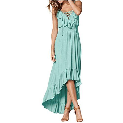 (SEBOWEL Women's Sleeveless Sexy Halter V-Neck Ruffle High Low Maxi Party Dress Mint-Green-S)