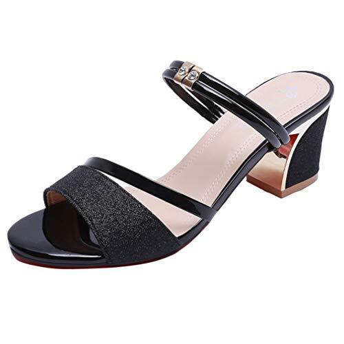 MEIZOKEN Women's Open Toe Chunky Heel Sandals Fashion Strappy Slingback Rhinestone Dress Slides Sandal Black]()