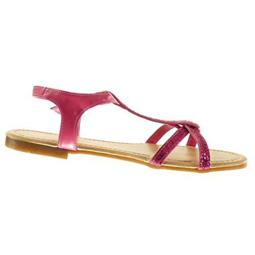 Angkorly - Scarpe da Moda sandali cinturino donna paillette multi-briglia Tacco a blocco 1.5 CM - Fushia