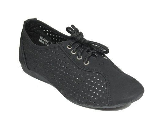 Regina 1 lace Ups Cut Out Oxfords Flats Black srfJGtYv7