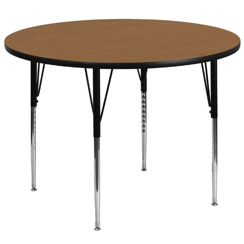 Flash Furniture 60'' Round Oak Thermal Laminate Activity Table - Standard Height Adjustable Legs