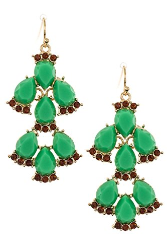 Trendy Fashion Jewelry Crystal Link Faceted Teardrop Stone Dangle Earring By Fashion Destination | (Green)