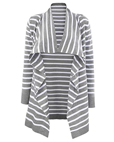 StrabElla Women's Sweater Knit Maternity and Nursing Long Sleeve Cardigan Open Front Stripe Belted ()