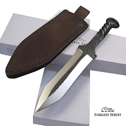 Rite Edge Railroad Spike Knife Double Edge Dagger w/Leather Sheath - 11 1/8