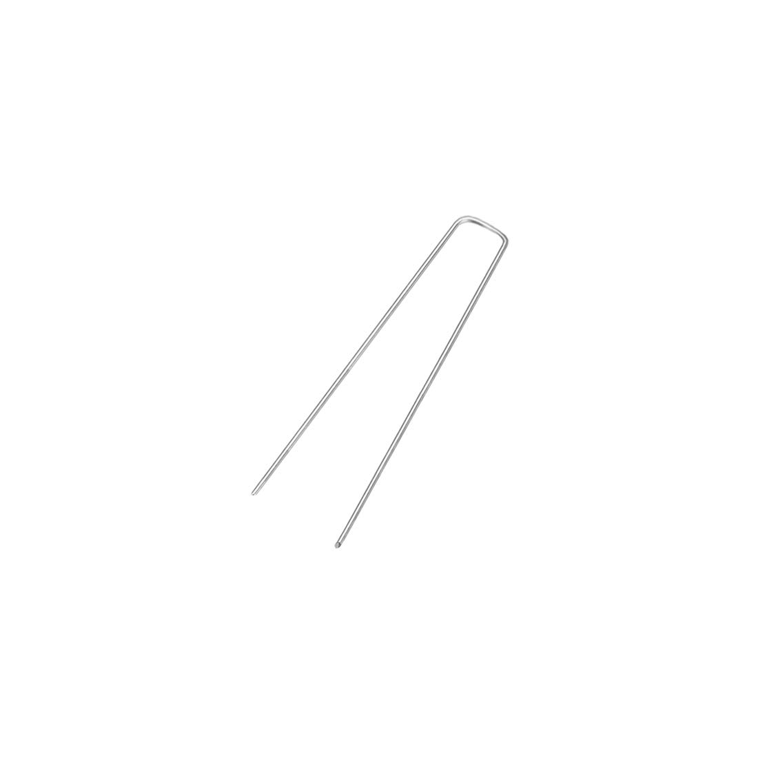 uxcell U-Shaped Garden Staples Stakes Pegs 150 x 25 x 3mm(LxWxD) 3mm Rod Dia Square 10pcs