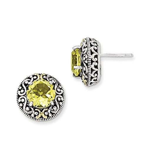 Sterling-Silver-w-14k-Yellow-Gold-Plated-Lemon-Quartz-Vintage-Style-Earrings-05IN-x-05IN