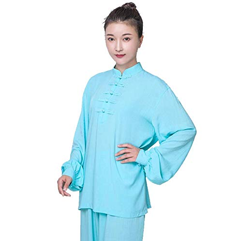ZHL&M Women Tai Chi Uniform Clothing - Chinese Traditional Qi Gong Martial Arts Clothing Shaolin Kung Fu Taekwondo Training Clothing for Beginners Women Arthritis Motion - Cotton,Blue,L