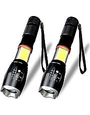 LED Taschenlampe, Karrong Taschenlampen Super Helle 1600 Lumen 5 Modi Wasserdicht Zoombar Einstellbar Fokus CREE LED Arbeit LED-Taschenlampe Tragbar für Outdoor Camping Wandern (2 Stück)