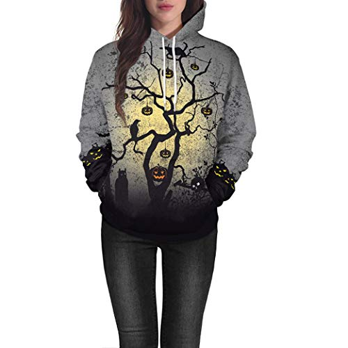 QIQIU Newest! Women's Halloween Pumpkin Tree Hooded Sweatshirt Long Sleeve Pullover Blouse (2XL, Grey)