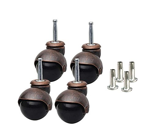 - Caster Classics 4-Pack 2-inch Antique Copper Ball Caster with Wood Stem and Socket