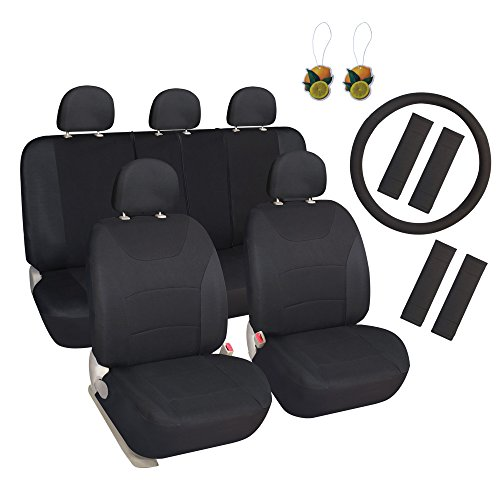 Leader Accessories Cloth Car Seat Covers, 17pcs, Front and Rear Full Set,Black,with Steering Wheel Cover, Shoulder Pads - Car Seat Covers Full
