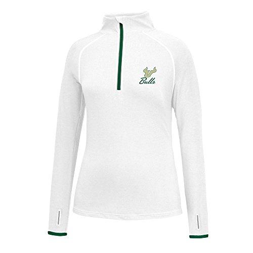 (J America NCAA South Florida Bulls Women's Script Logo Power Through Poly 1/2 Zip Jacket, Small, White/Green )