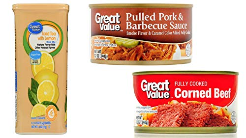 (4 Boxes) Great Value Drink Mix, Iced Tea with Lemon, Sugar-Free, 1.4 oz, 6 Count, (2 Pack) Great Value Corned Beef, 12 oz and (2 Pack) Great Value Pulled Pork & Barbecue Sauce, 12 oz (Best Bottled Barbecue Sauce For Pulled Pork)