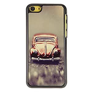 DUR Vintage Red Car Pattern PC Hard Case with 3 Packed HD Screen Protectors for iPhone 5C