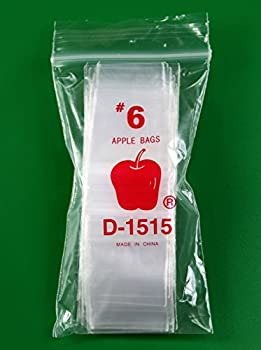"500 - Apple 2.5 Mil -- Ziplock Baggies , #1515 Recloseable Bags 1.5"" x 1.5"" (Clear)"