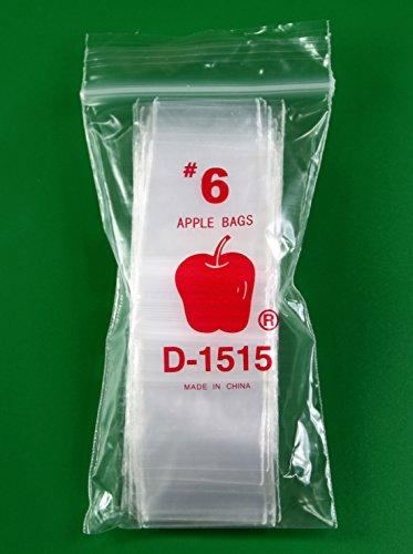 500 - Apple 2.5 Mil -- Ziplock Baggies , #1515 Recloseable Bags 1.5