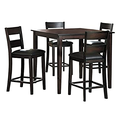Homelegance Griffin 40-Inch Counter Height 5-Piece Dining Set with Ladder Back Chairs, Espresso