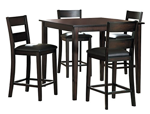 Homelegance Griffin 40-Inch Counter Height 5-Piece Dining Set with Ladder Back Chairs, Espresso ()