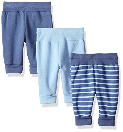 Hanes Ultimate Baby Flexy 3 Pack Adjustable Fit Fleece Joggers, Blues 0-6 -