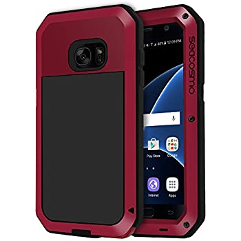 seacosmo Galaxy S7 Case, Shockproof Dustproof Rainproof Military Grade Full Body Protective Case with Tempered Glass Screen Protector Heavy Duty Rugged Drop Resistant Case for Samsung Galaxy S7, Red