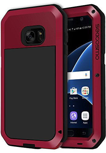 Seacosmo Shockproof Case for Galaxy S7 with Built-in Screen Protector, 360 Full Body Protective Cover, Military Grade Rugged Heavy Duty Shell, Drop Resistant Defender for Outdoor Sport, Red