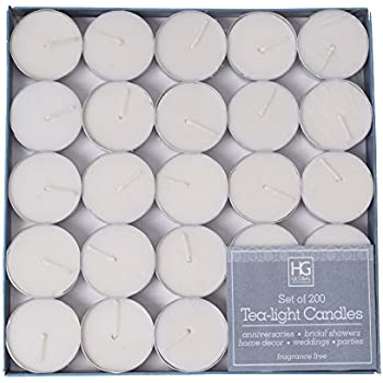 Hosley's Set of 200 Tea Light Candles, Unscented. Bulk Buy Quality Tealights. Ideal for Parties, Weddings, Spa, Aromatherapy. Hand Poured, Using a Wax Blend
