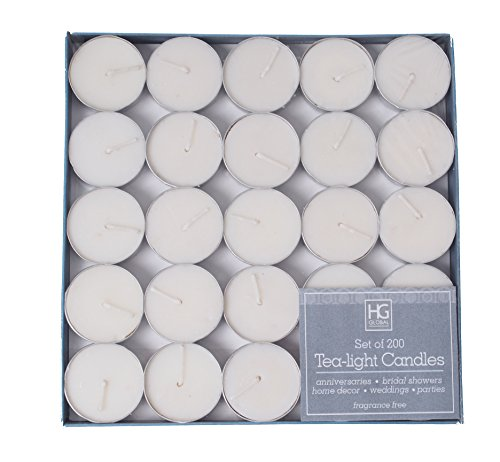 Hosley Set of 200 Tea Light Candles, Unscented. Bulk Buy Quality Tealights. Ideal for Parties, Weddings, Spa, Aromatherapy. Hand Poured, Using a Wax Blend by Hosley
