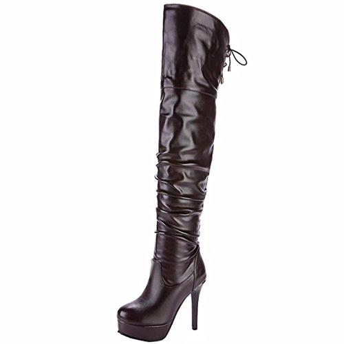 AIYOUMEI Damen Stiletto Overknee Stiefel mit Plateau und Schnürung Elegant Modern Winter Stiefel Schuhe Braun
