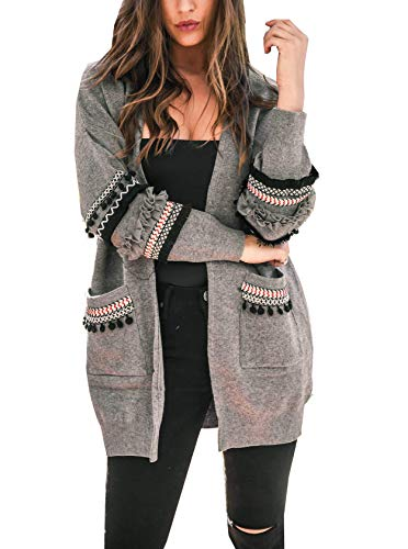 (BTFBM Women Boho Long Sleeve Open Front Knit Cardigan with Pockets Bohemian Knitted Sweater Outwear Coat Tops (Grey, Medium) )