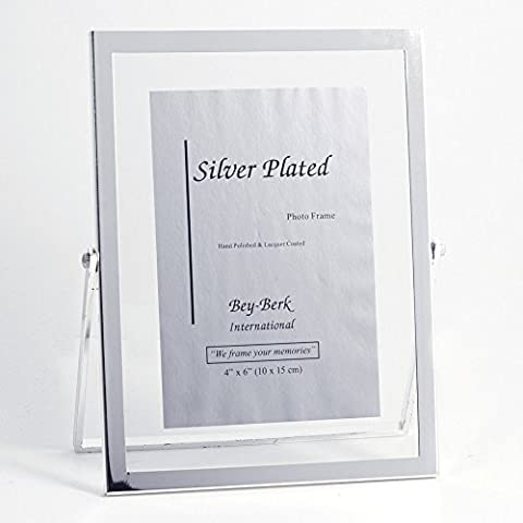 Bey-Berk Silver-Plated Floating 4 x 6 in. Photo Frame - Tarnish Proof - Tarnish Proof