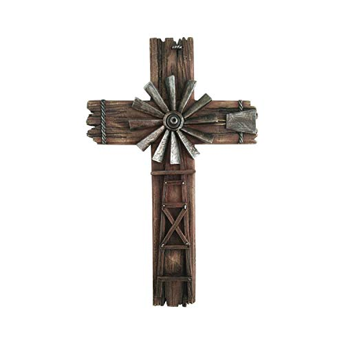 Cross Wall Hanging Home Decor - Western Crosses Wall Decor Windmill Cross - Crucifix Wall Cross Large Made from Polyresin - Decorative Family Crosses Wall Decor - Crucifix Wall Cross Modern ()
