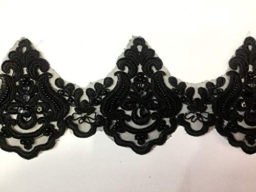 Beaded Lace Trim Sequinned Vintage Decorative Wedding/Bridal DIY Craft Sewing Coloured Fabric TR3 (Black 5 Yards)